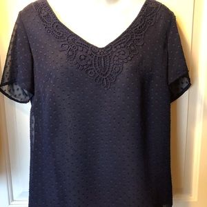 Coldwater Creek Dotted Swiss Vneck Top XS:61